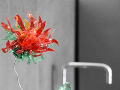 Flower of colored recycled plastic