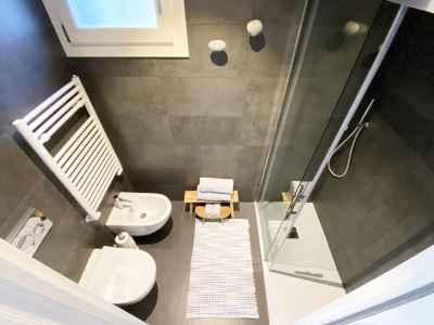 Bathroom with floor-level shower