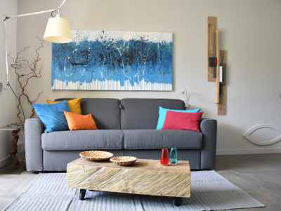 Living room with lamp and contemporary art
