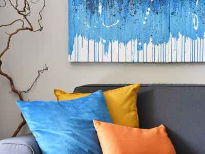 Art detail and colored cushions