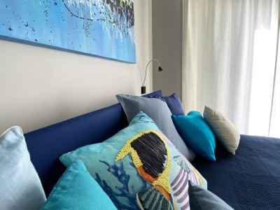 Colored pillows on the blue bed